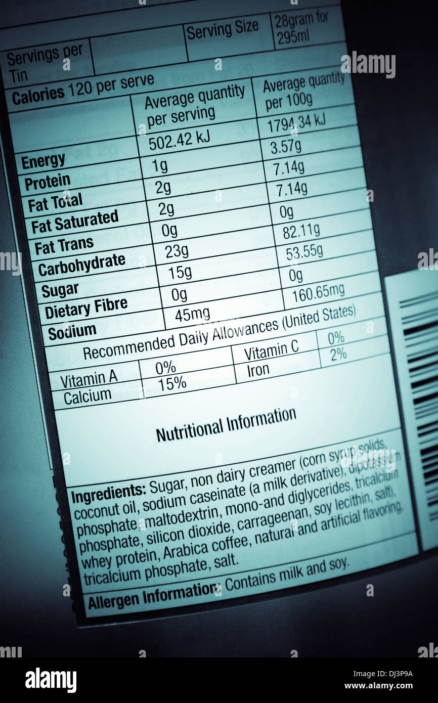 Nutrition information facts on food label - Stock Image
