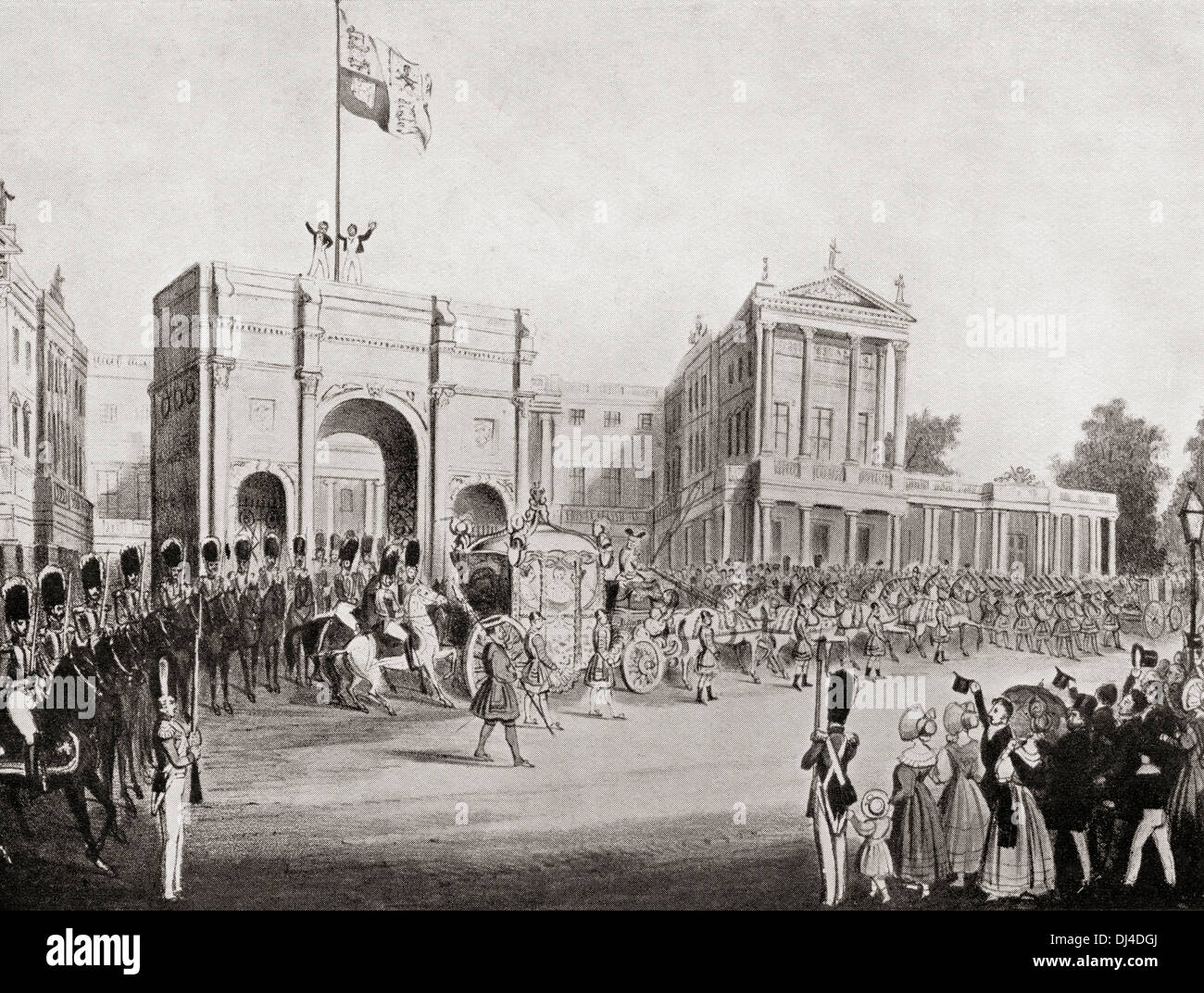 Coronation procession of Queen Victoria in 1838, leaving Buckingham Palace  through the Marble Arch.