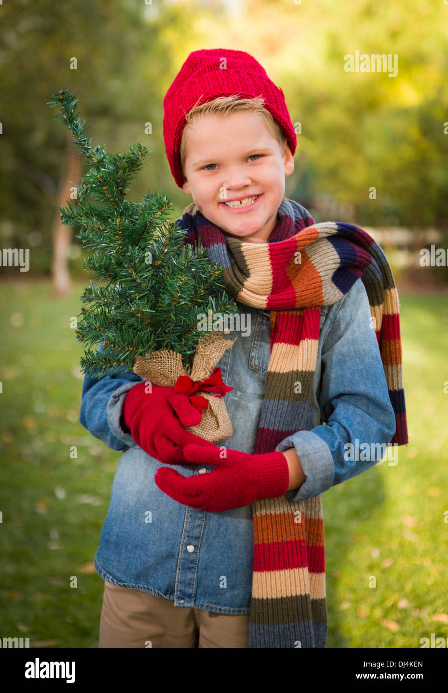 Handsome Young Boy Wearing Holiday Clothing Holding Small Christmas Tree Outside. - Stock Image