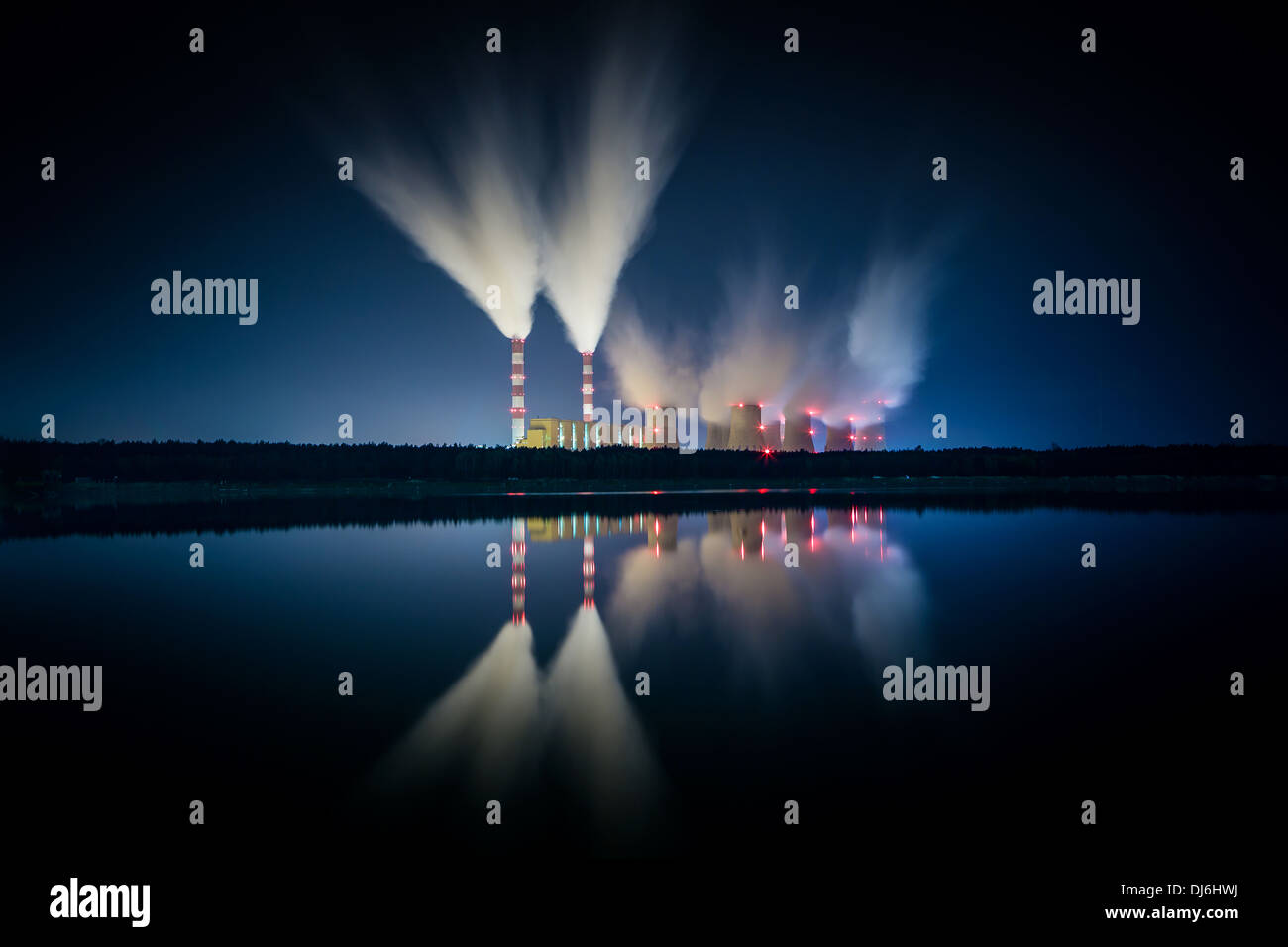 coal power station and night - Belchatow Poland. - Stock Image