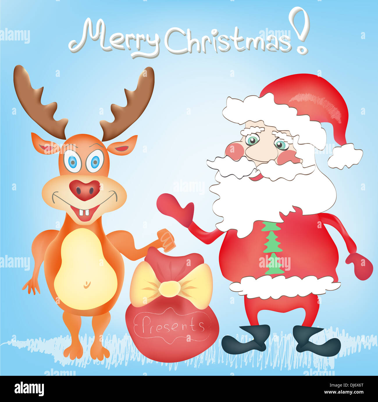 Merry Christmas Holiday Greeting Card With Deer And Santa Claus