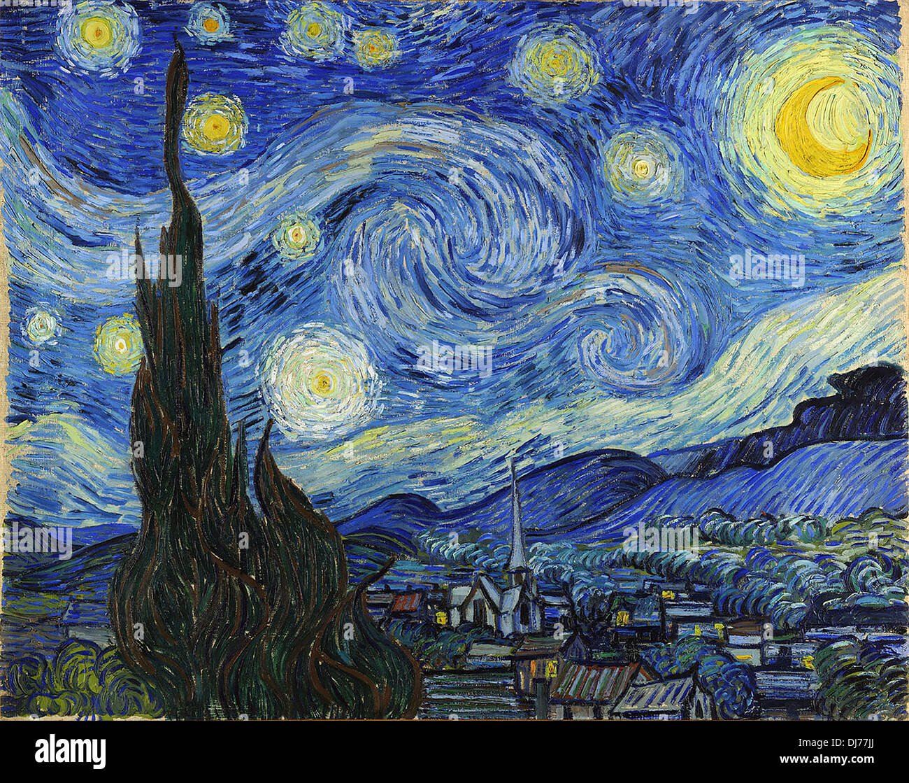 The Starry Night by Vincent van Gogh Stock Photo