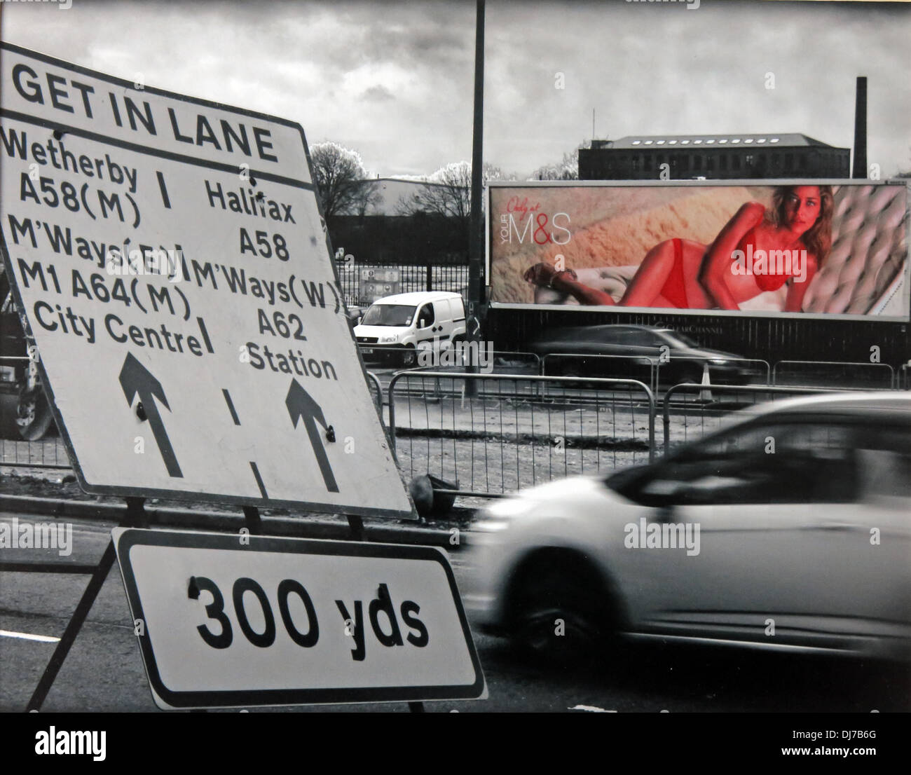 in,underwear,M&S,Marks,&,Spencers,and,driving,distractions,on,the,road,roads,bypass,ring,ringroad,fun,roadworks,works,improvements,highway,sign,Naked,girl,on,a,poster,distracting,morning,drivers,in,Leeds,Yorkshire,England,UK,signage,signs,Halifax,A62,weatherby,A64,city,centre,delay,delays,Gotonysmith,highways,agency,evening,commuter,english,Selectively,coloured,image,of,a,scantily,clad,lady,on,a,poster,distracting,commuters,colored,selective,delay,delays,delayed.late,later,Buy Pictures of,Buy Images Of