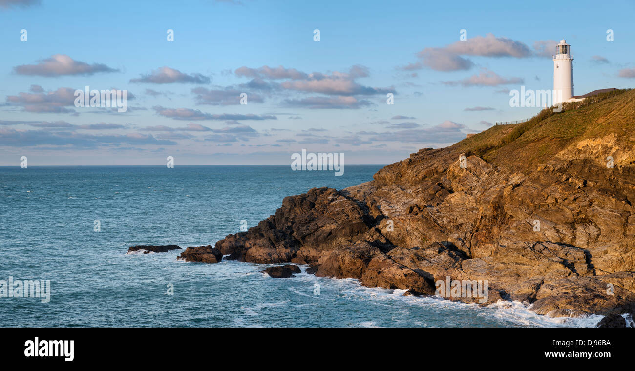 The lighthouse at Trevose Head near Padstow on the north coast of Cornwall - Stock Image