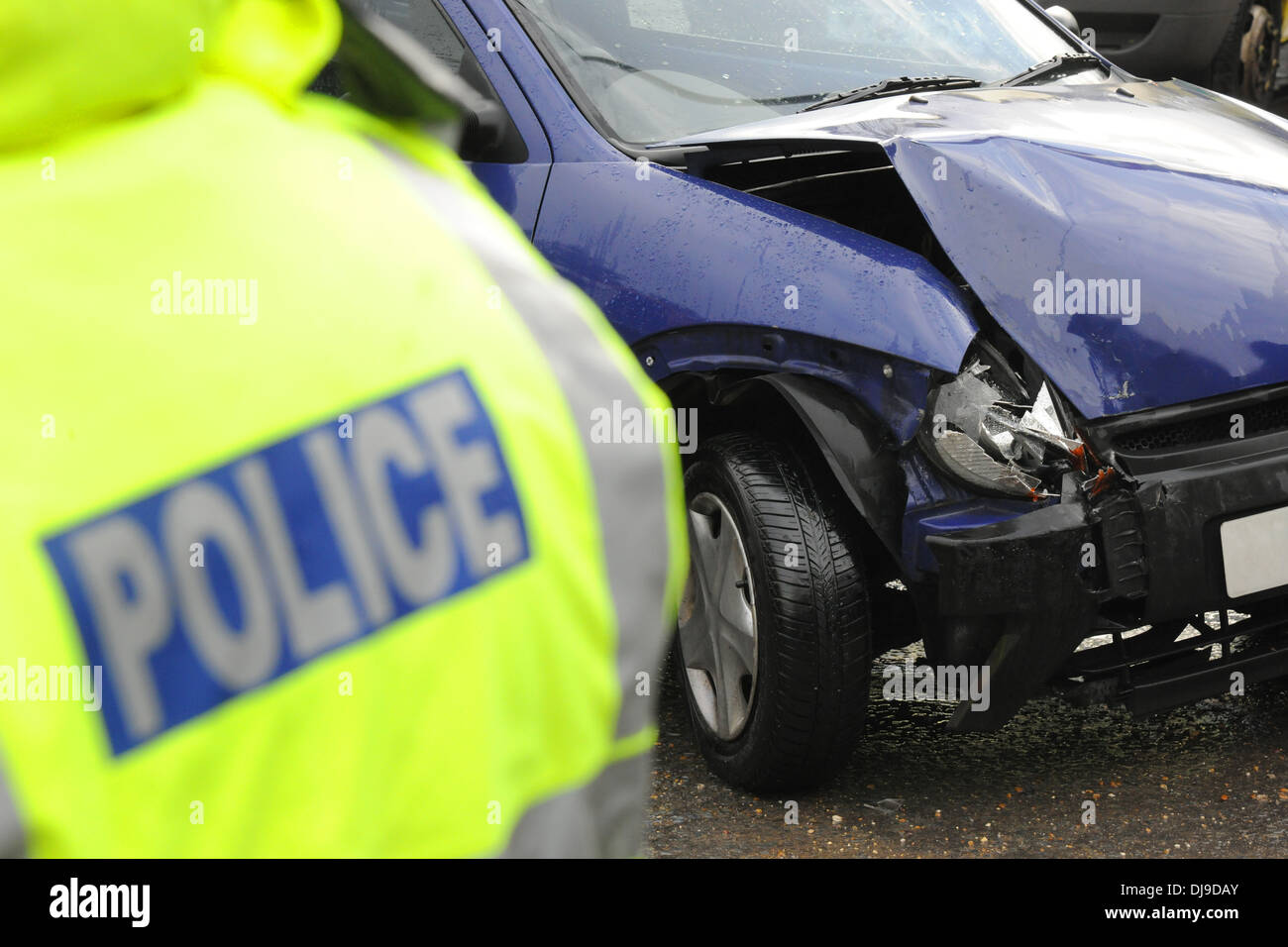 Police at the scene of a road traffic collision - Stock Image