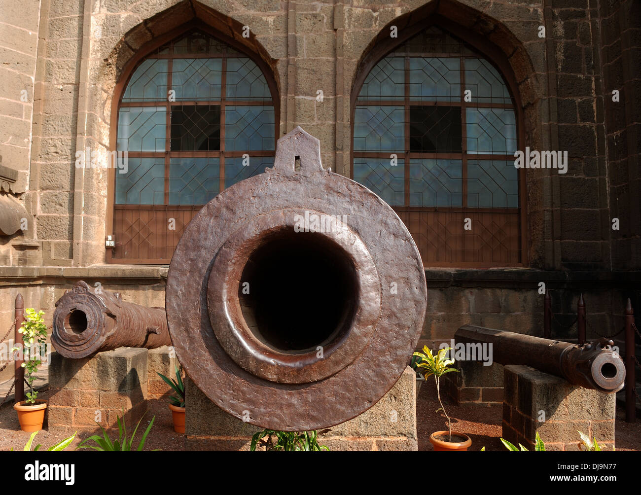 cannon at gol gumbaz,bijapur,india - Stock Image