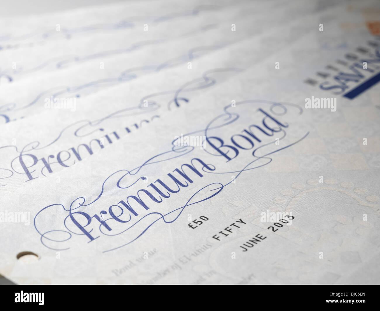 Premium Bond Certificates Stock Photo