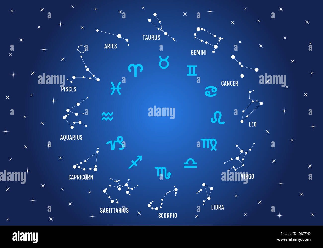zodiac signs, horoscope symbols, stars in blue sky, vector icon set Stock Photo