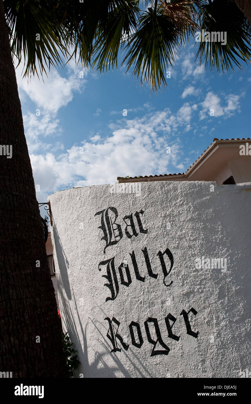 Sign outside the Bar Jolly Roger in Mallorca. - Stock Image