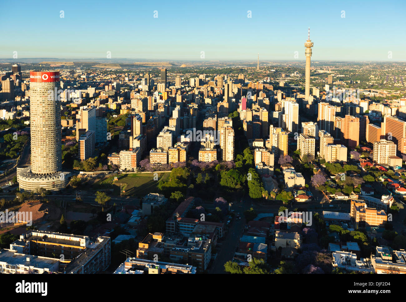 Aerial view of Hillbrow with Ponte City   showing all the highrise buildings.Johannesburg.South Africa - Stock Image
