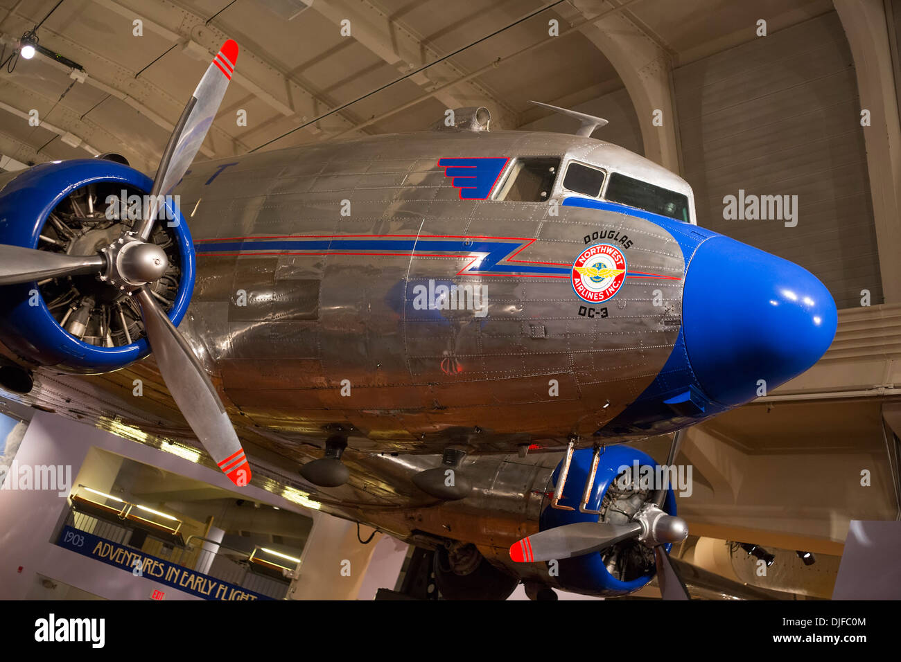 A Douglas DC-3 operated by Northwest Airlines on display at the Henry Ford Museum - Stock Image