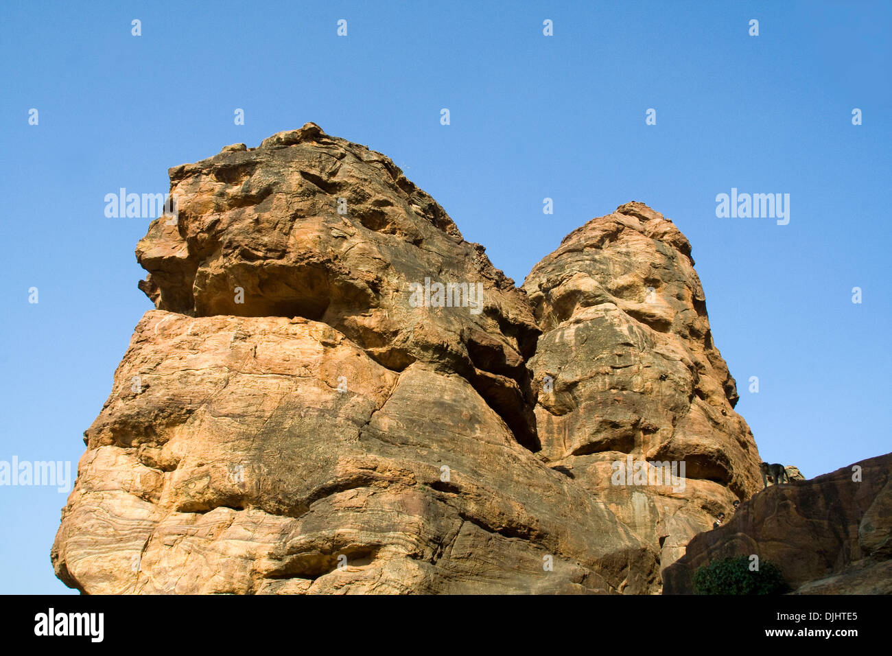 Gigantic rocks on Southern Hill at Badami, Karnataka, India, Asia - Stock Image