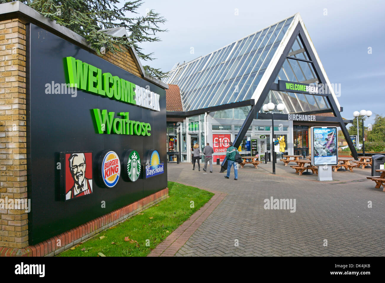 Panel advertising companies trading within the Birchanger Green Motorway Services area Stock Photo