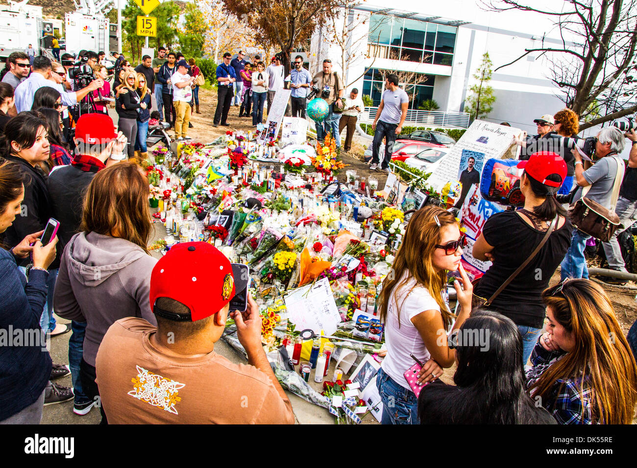 The site in Santa Clarita California where movie star Paul Walker was killed in an accident on Saturday November Stock Photo