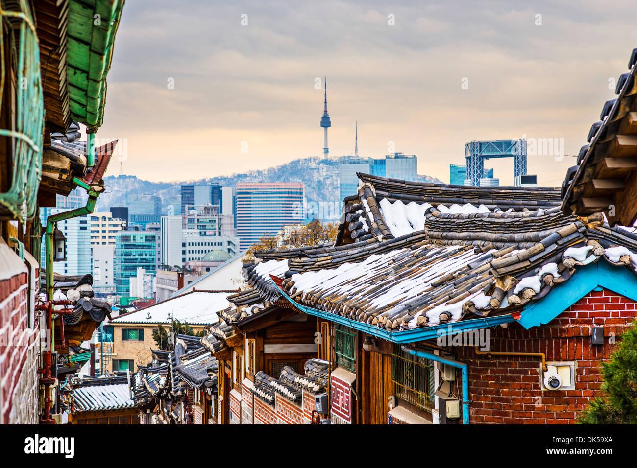Seoul, South Korea at the Bukchon Hanok historic district. - Stock Image