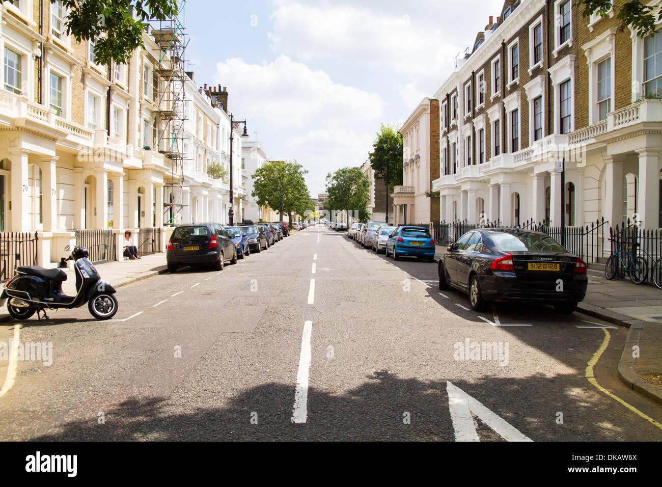 A wealthy terraced street in west London Pimlico Westminster London - Stock Image