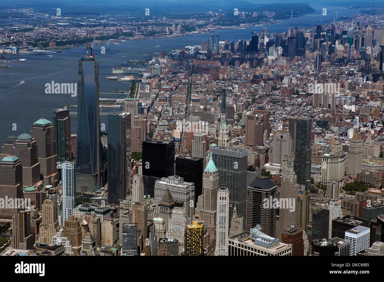 aerial photograph Lower Manhattan, New York City - Stock Image