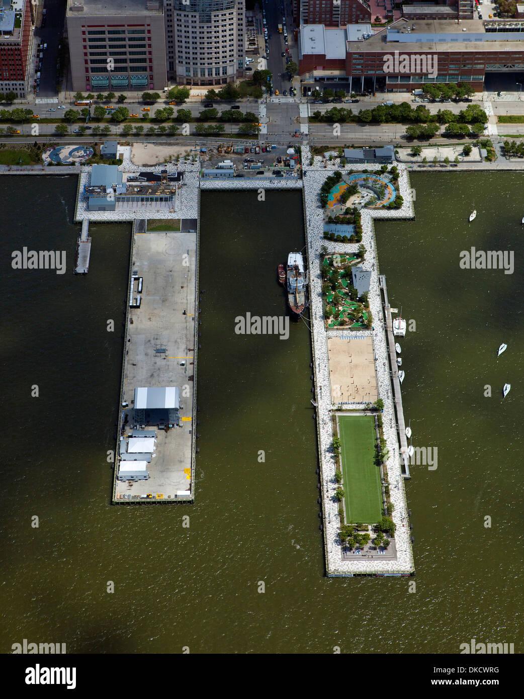 aerial photograph Pier 25, Hudson River Park, Lower Manhattan, New York City - Stock Image