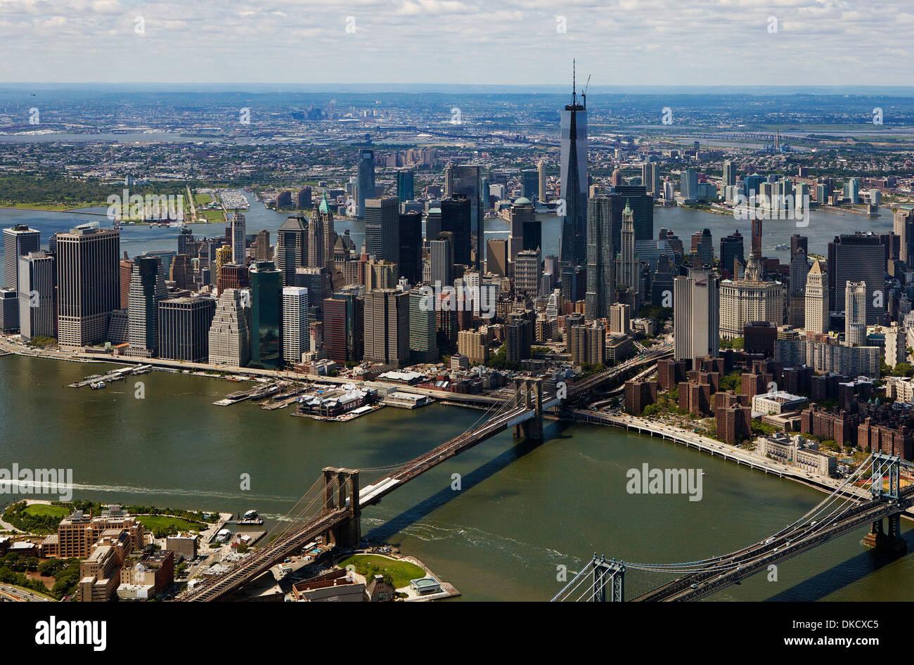 aerial photograph Lower Manhattan, East River, Brooklyn Bridge, New York City - Stock Image