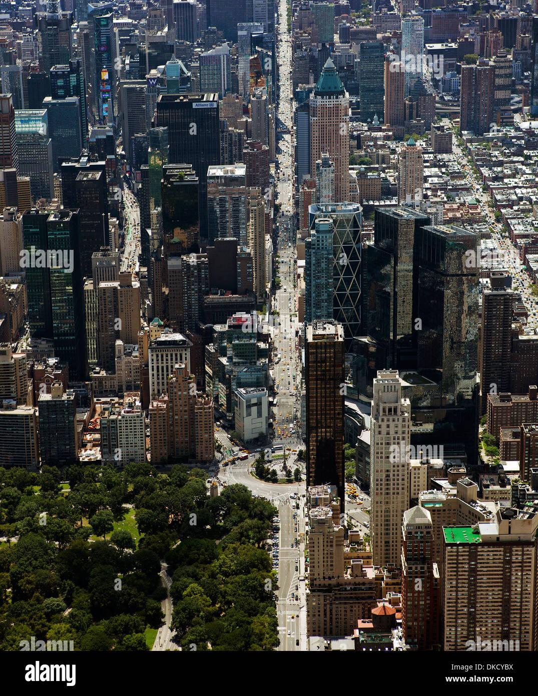aerial photograph Central Park West, Columbus Circle, 8th Avenue, Manhattan, New York City - Stock Image