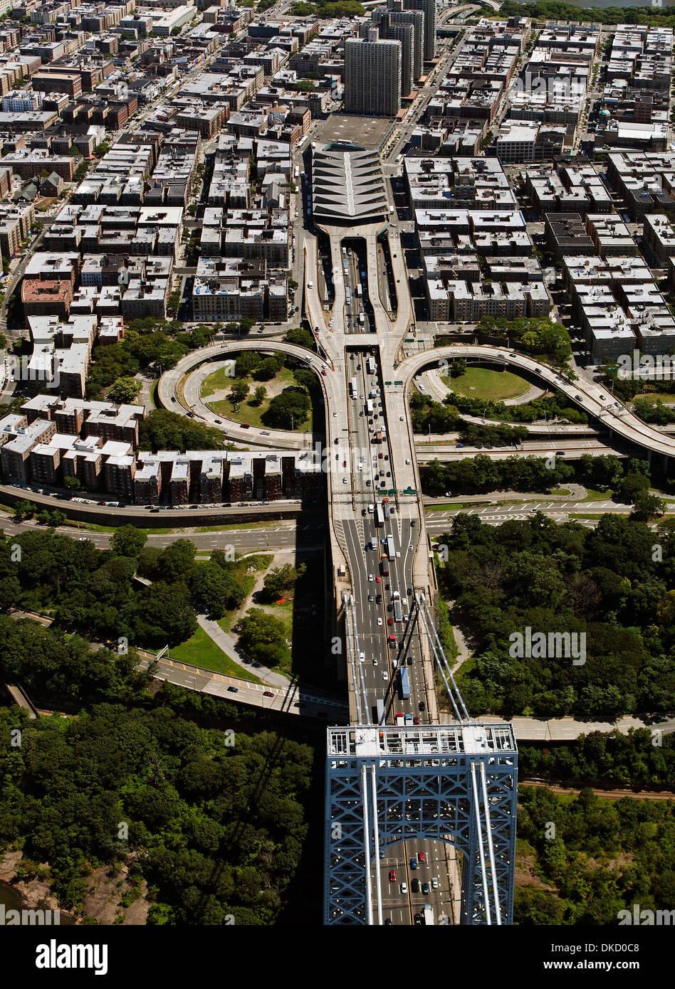 aerial photograph George Washington Bridge, Manhattan, New York City - Stock Image