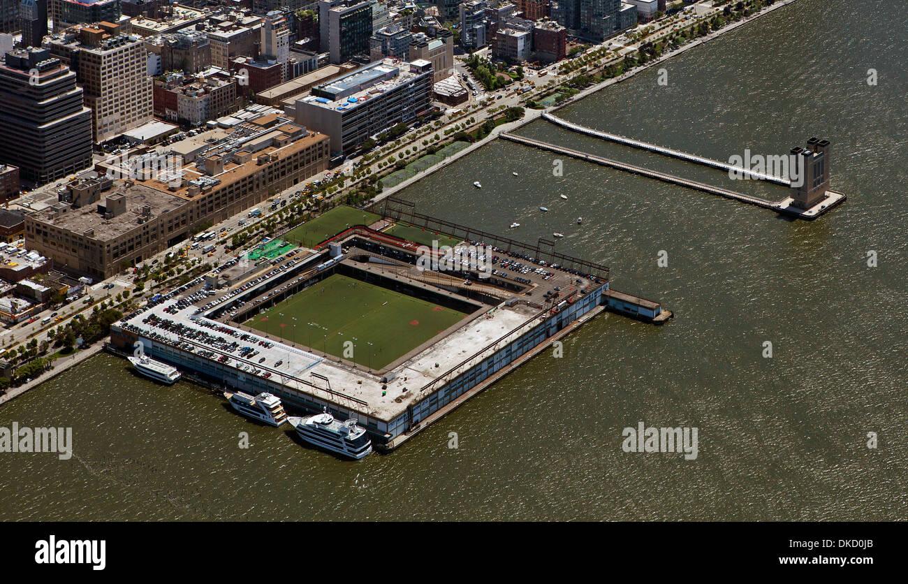 aerial photograph Pier 40, Hudson River Park, Manhattan, New York City - Stock Image