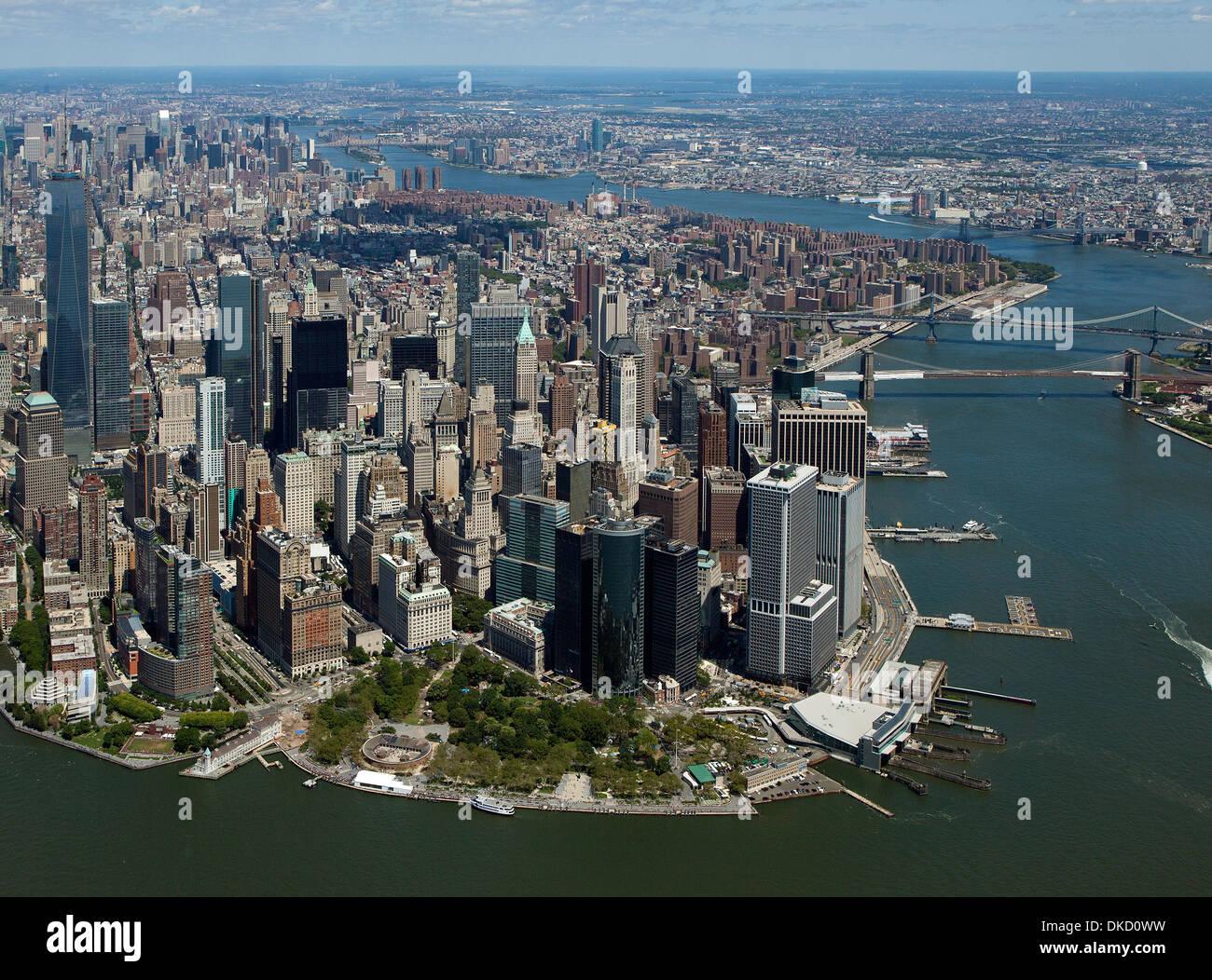 aerial photograph Battery Park, Lower Manhattan, New York City - Stock Image