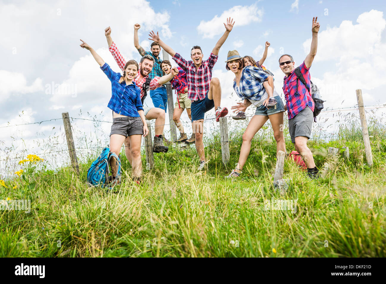 Group of friends on hike, Tyrol, Austria - Stock Image