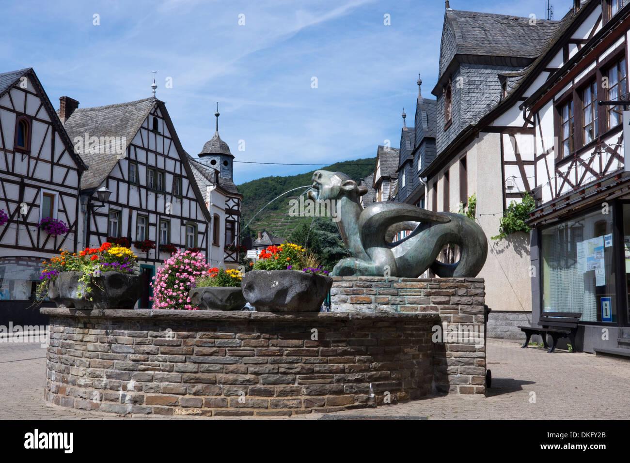 tatzelwurm weinbrunnen fountain in kobern village, kobern-gondorf village, moselle region, rhineland-palatinate, - Stock Image