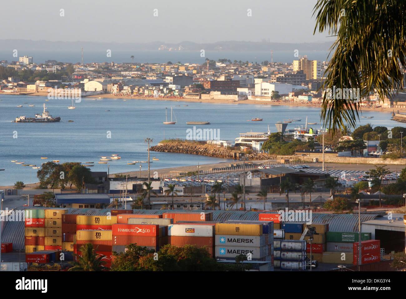 Cargo and ships in Salvador Bay, Salvador, Bahia, Brrazil, South America - Stock Image