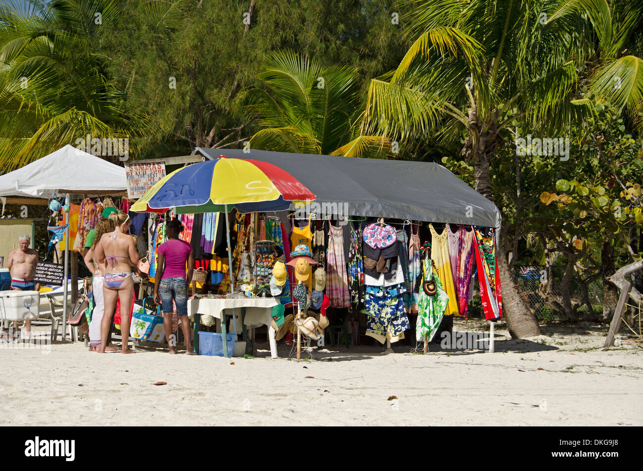 Market stall at beach, Jolly Beach, Antigua, Lesser Antilles, the Caribbean, America - Stock Image