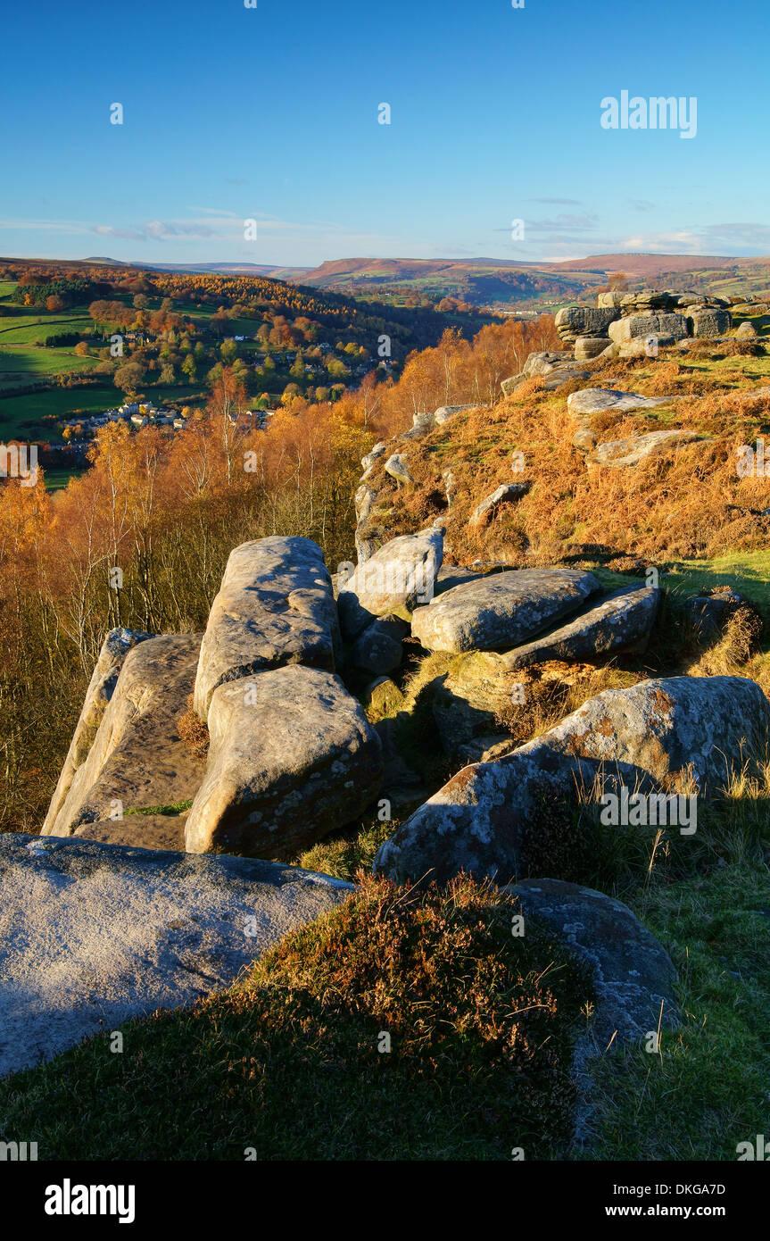 UK,Derbyshire,Peak District,Froggatt Edge & Derwent Valley - Stock Image