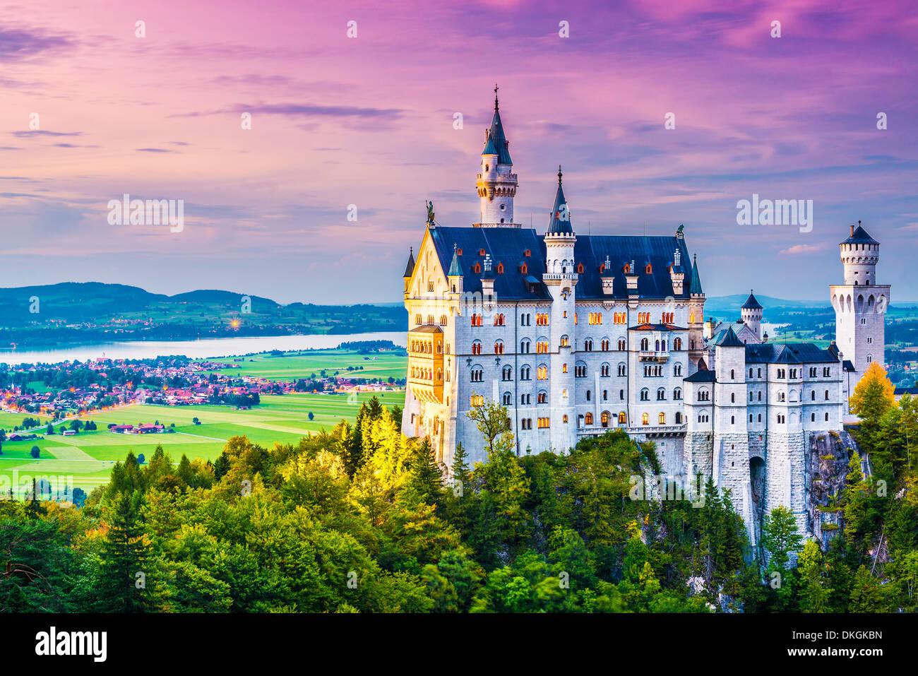 Neuschwanstein Castle in Germany. - Stock Image