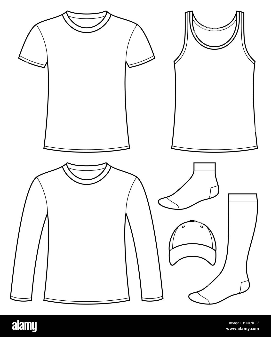singlet t shirt long sleeved t shirt cap and socks template stock