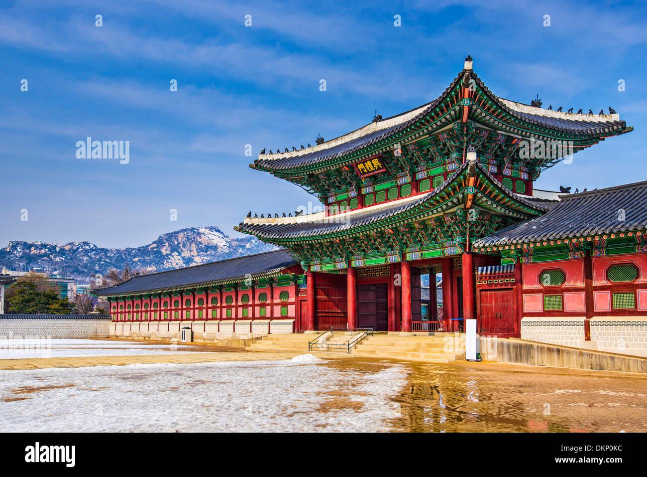Gyeongbokgung Palace grounds in Seoul, South Korea. - Stock Image