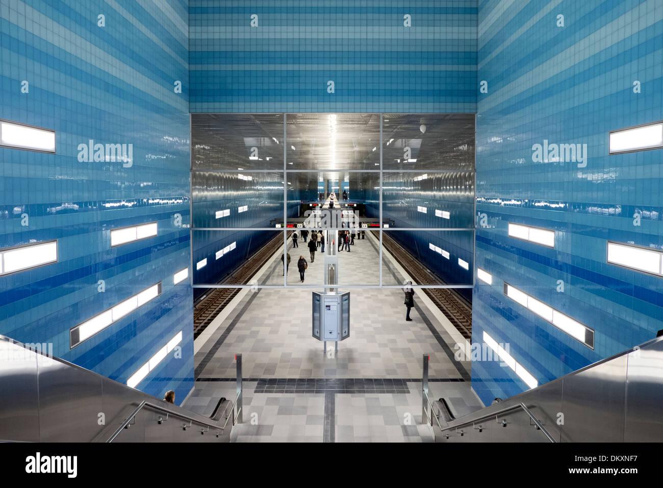 U4 rail station Überseequartier, Hamburg, Germany - Stock Image
