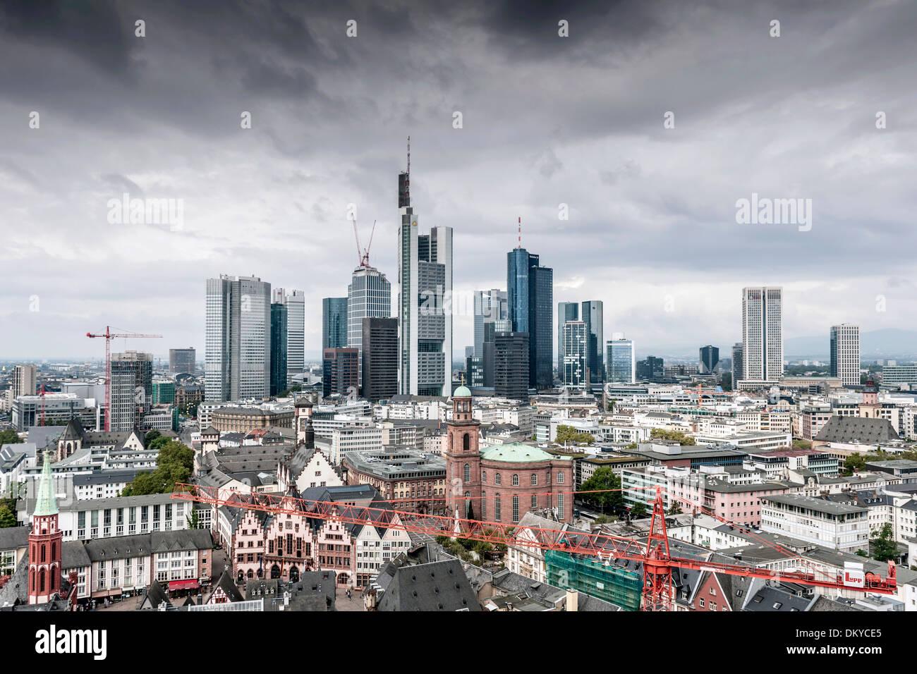 Skyline, black clouds over financial district, Frankfurt, Hesse, Germany - Stock Image