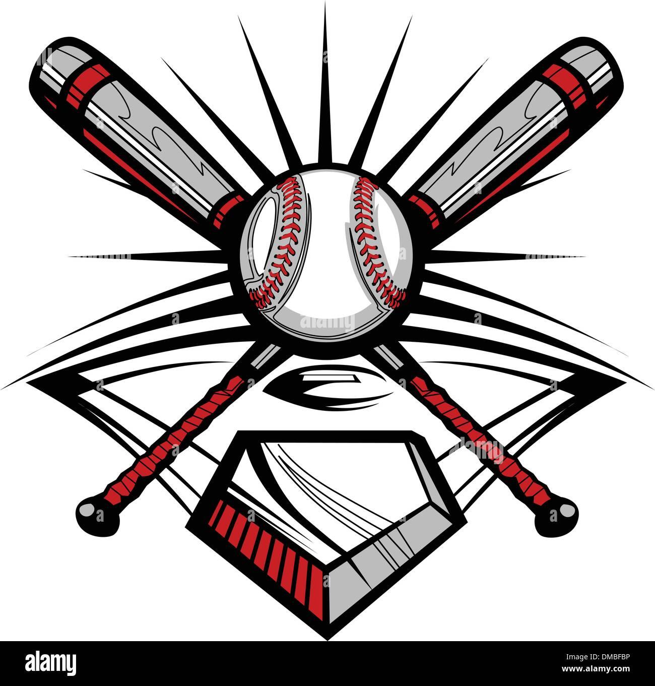 baseball or softball crossed bats with ball vector image template rh alamy com Baseball Bat Shield Baseball Diamond Clip Art