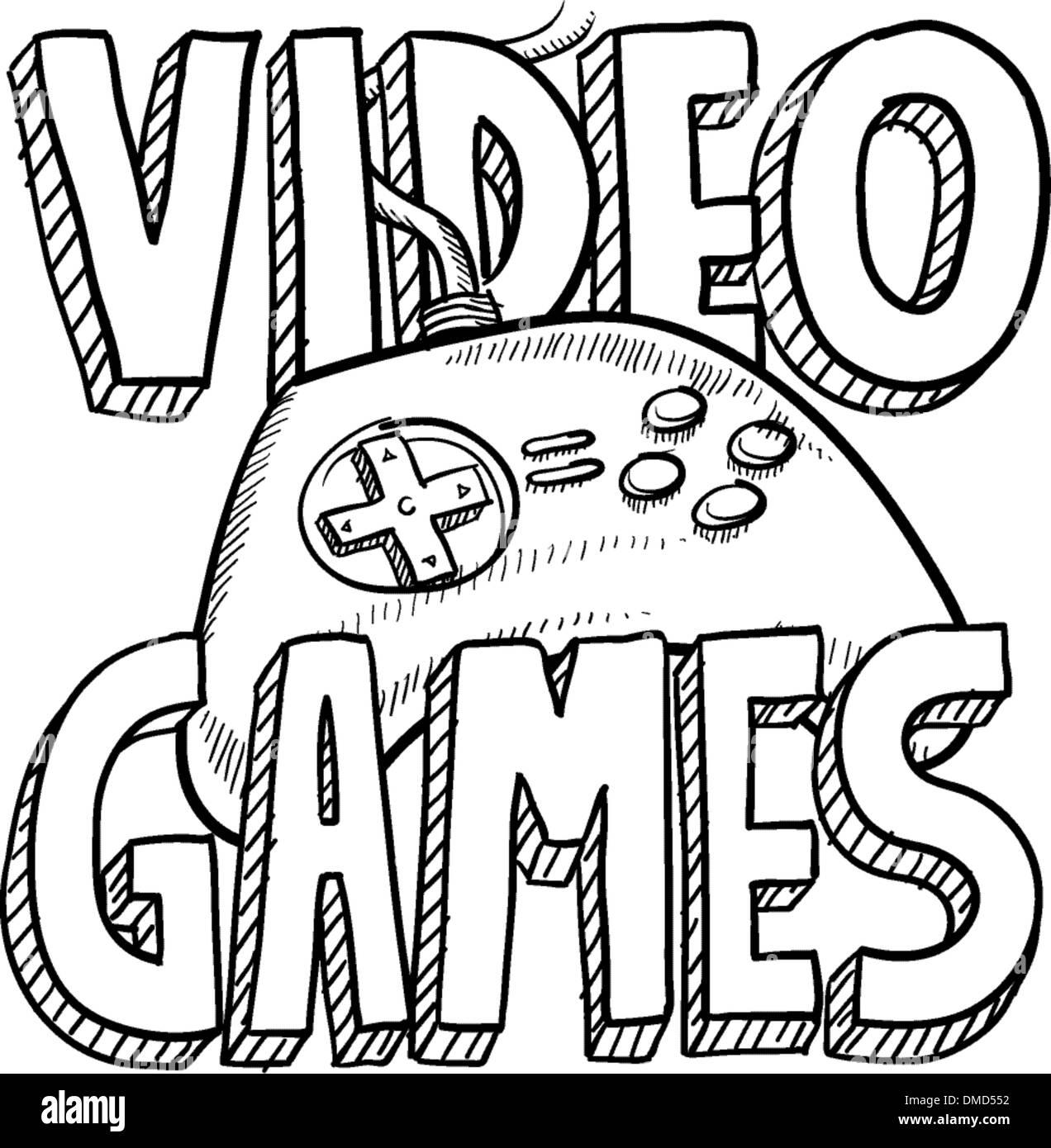 video games sketch stock vector art illustration vector image 2018 Video Games video games sketch