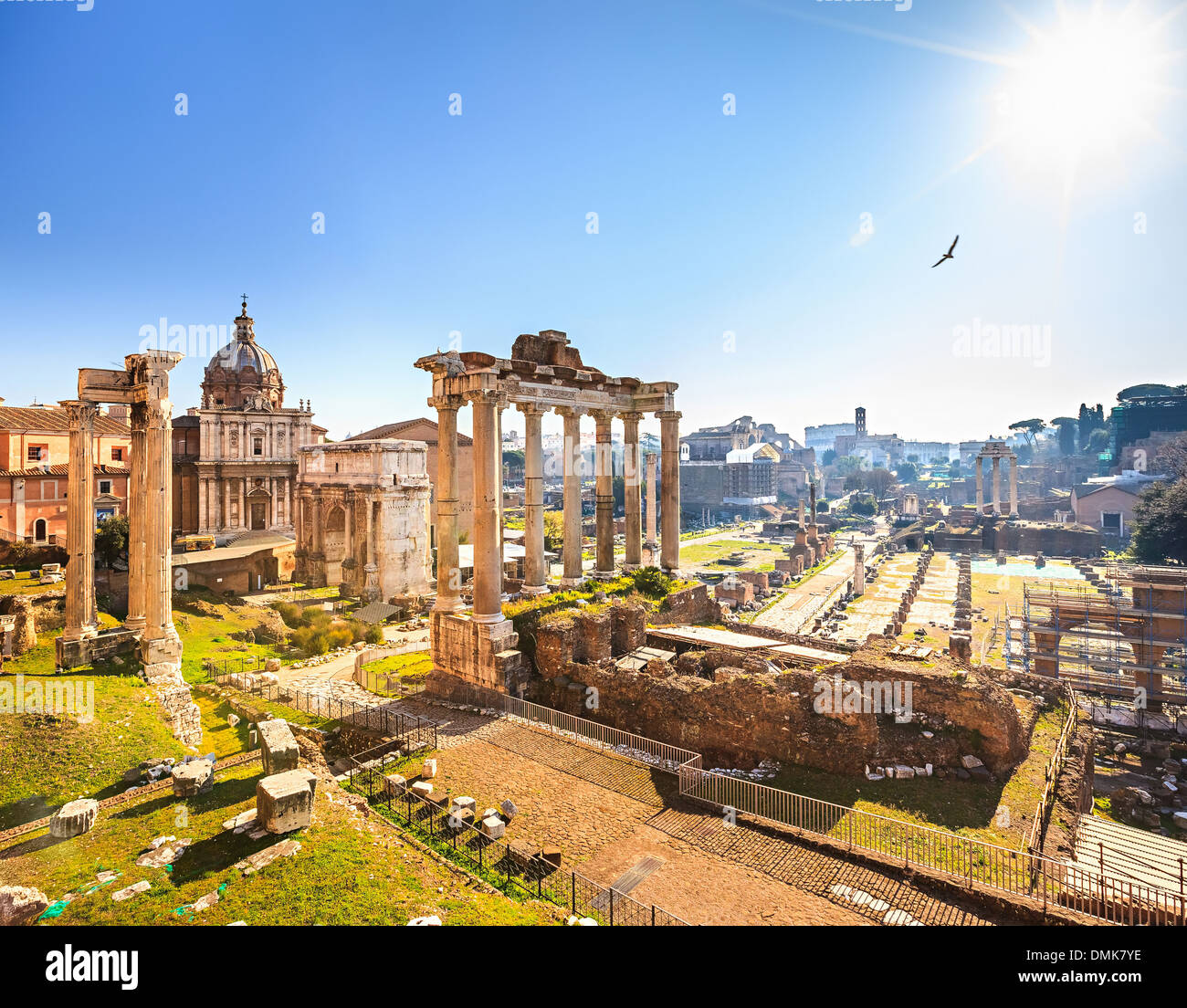 Roman ruins in Rome, Forum - Stock Image