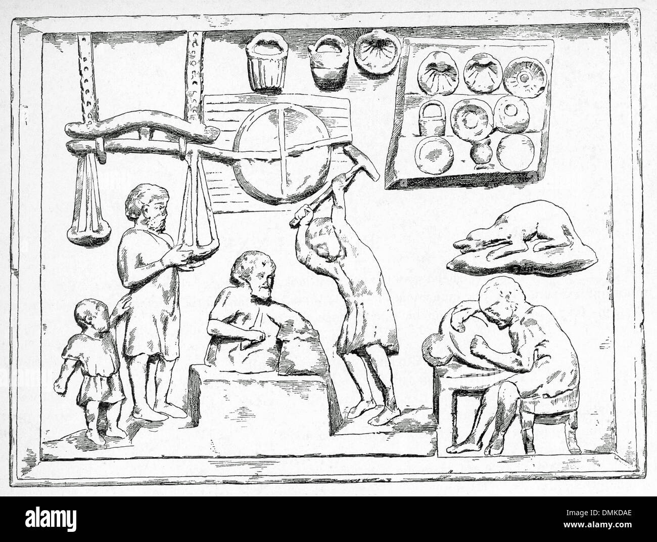 worksheet Roman Baths Worksheet ancient roman black and white stock photos images alamy this relief shows a coppersmiths shop in the center is square block