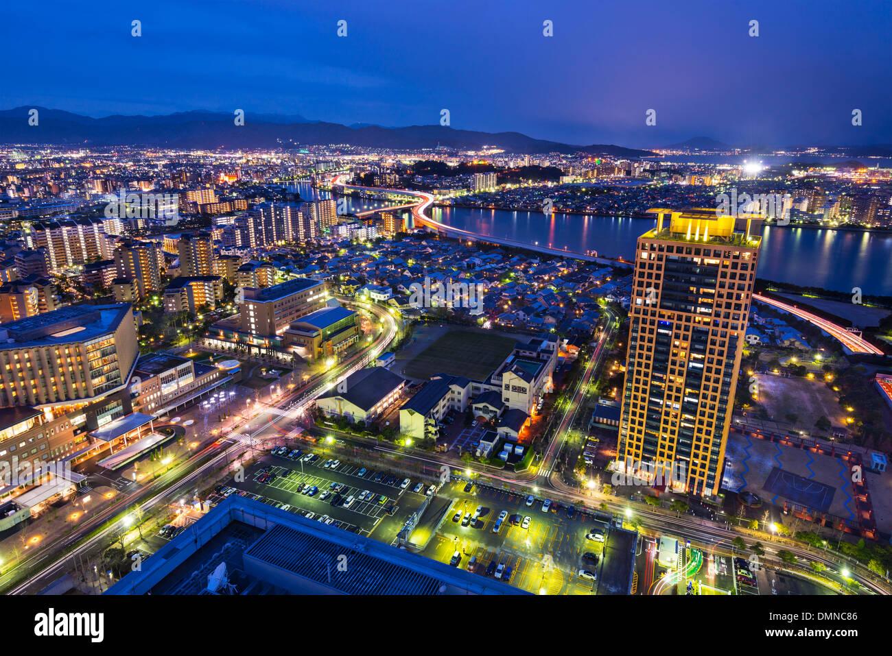 Fukuoka, Japan cityscape and office buildings. - Stock Image