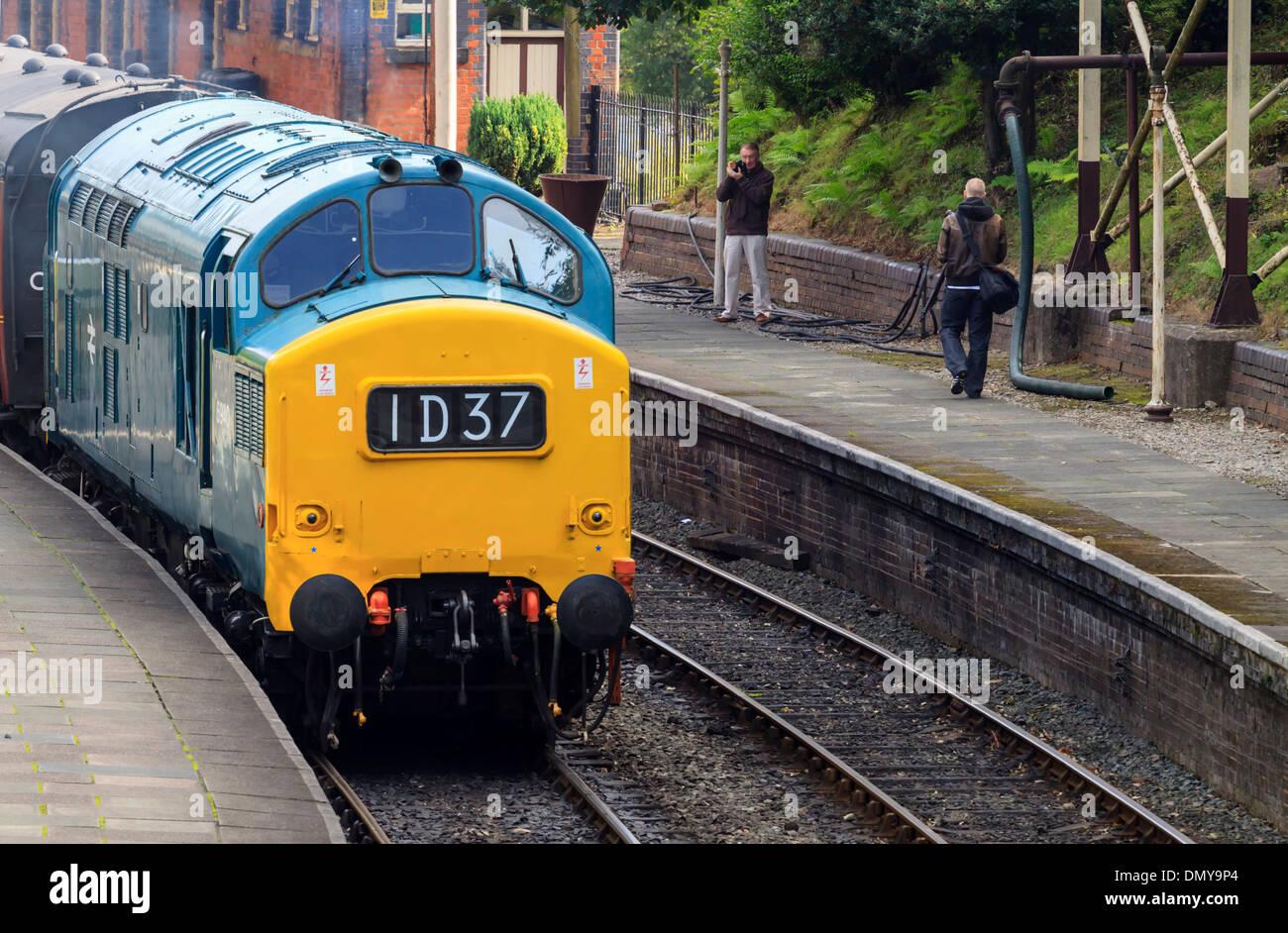 Class 37 (37240/D6940) is seen running on the Llangollen Heritage Railway  during Diesel Day.