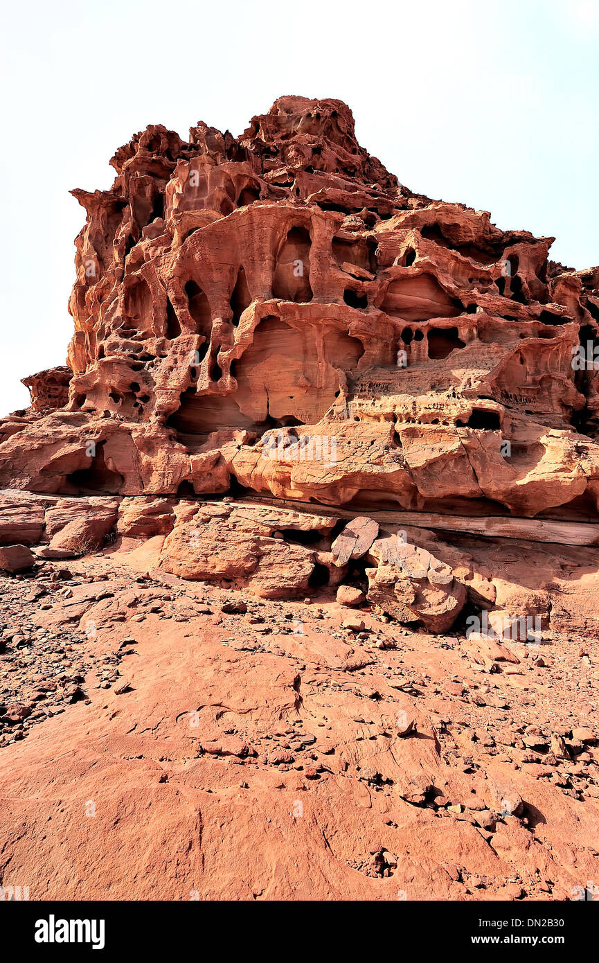 A peculiar rock formation in the desert of Wadi Rum. - Stock Image