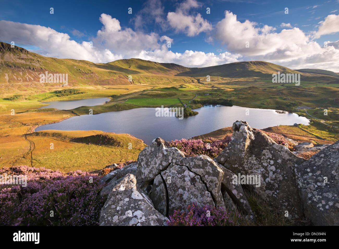 Sunlit mountains surrounding Cregennen Lakes, Snowdonia National Park, Wales, UK. Late Summer (September) 2013. Stock Photo