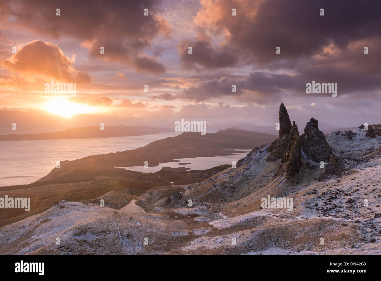 Spectacular sunrise over the Old Man of Storr, Isle of Skye, Scotland. Winter (December) 2013. - Stock Image