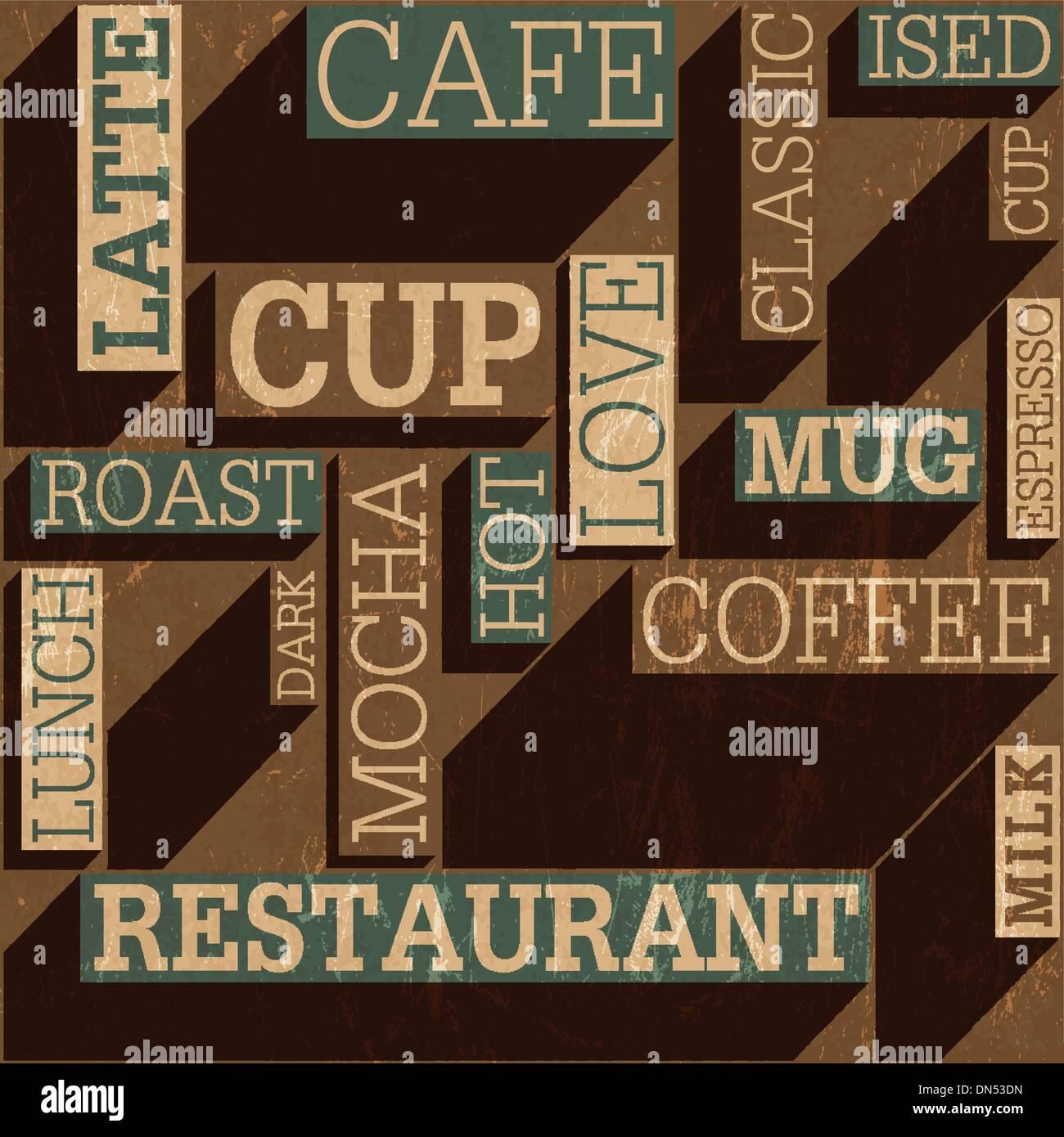 Coffee themed seamless retro background, vector Stock Vector