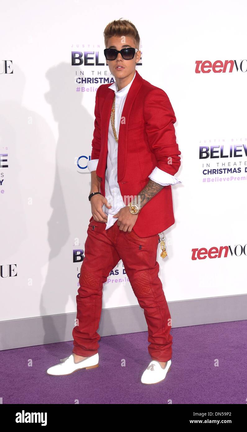 Los Angeles, California, USA. 18th December 2013. Justin Bieber arrives at the premiere for 'Believe' in - Stock Image