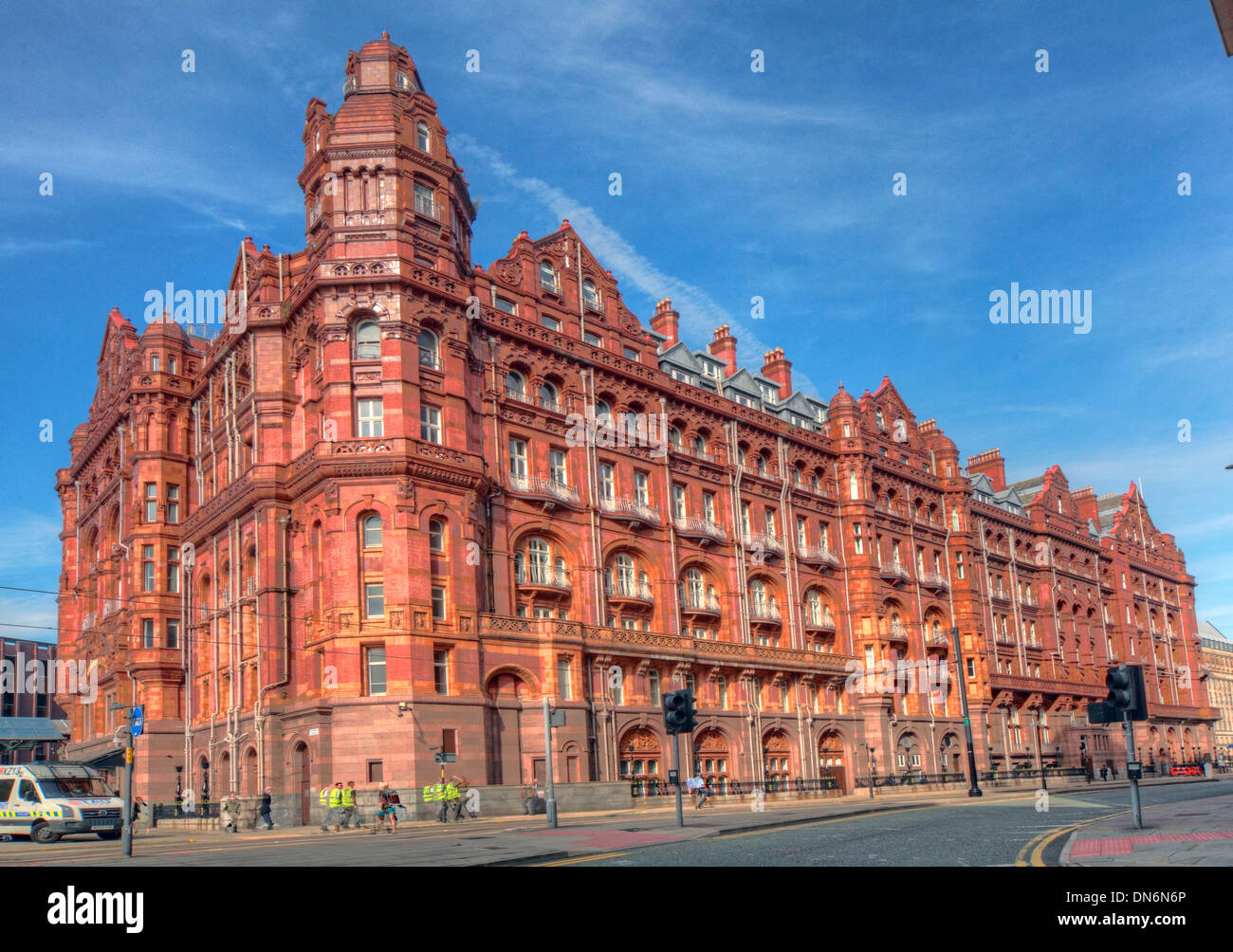 red brick railway B&B grand Midland Railway Central railway station,its,northern,Charles,Trubshaw,grade,II,grade2,Paramount,Hotel,Group,Barcelo,UK,hoteles,QHotels,Quintessential,summer,blue,skies,sky,French,Restaurant,Mr.,Coopers,House,&,Garden,and,The,Wyvern,Restaurant,pano,panorama,gotonysmith,hotels,fine,tourist,travel,architecture,building,wide,shot,wideshot,Peter,Street,and,Lower,Mosley,rown,polished,granite,and,Burmantofts,terracotta,Burmantoft,Buy Pictures of,Buy Images Of