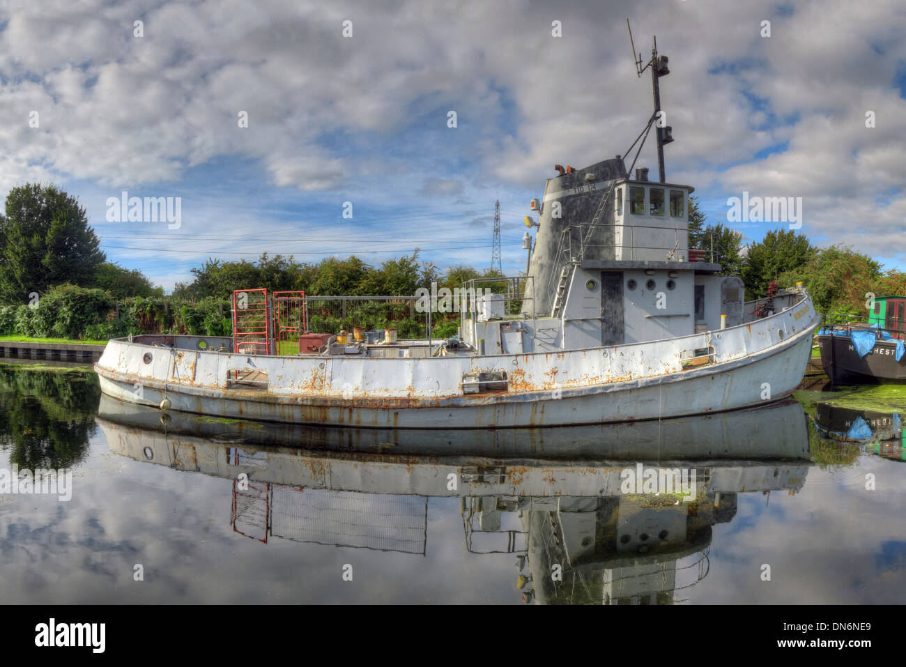 GB,Great,Britain,Boat,on,the,Sankey,Canal,Reflection,Warrington,Cheshire,England,UK,pano,panorama,wide,shot,widshot,summer,bright,day,Ferry,Tavern,marina,Mersey,safe,haven,safehaven,lock,gates,lockgates,gate,tidal,SCARS,waterway,waterways,restoration,quay,quays,club,pub,gray,ship,gotonysmith vision,Buy Pictures of,Buy Images Of